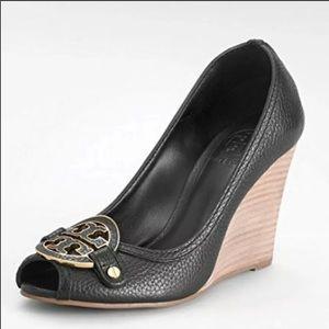Tory Burch Amanda Wedge Peep Toe Heels Black 5.5